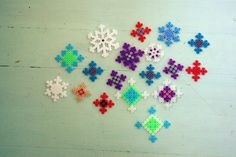 Hama bead snowflakes.