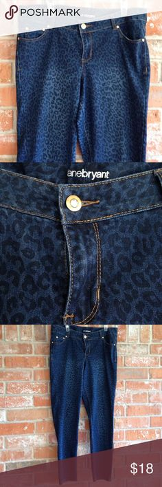 "Jeans With Leopard Print Plus Size These jeans are in EUC. They measure 19 1/2"" side to side at top of waist and inseam is 29"". They are skinny ankle jeans. Look great with tunics  as you can see by measurements these will also fit a 16. They have a lot of stretch. Really flattering! Lane Bryant Jeans Skinny"