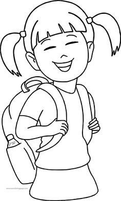 Have School Bag Girl Coloring Page. Abc Coloring Pages, Coloring Sheets For Kids, Coloring Pages For Girls, Free Coloring, Coloring Books, Girls Bags, School Bags, Vibrant, Pets
