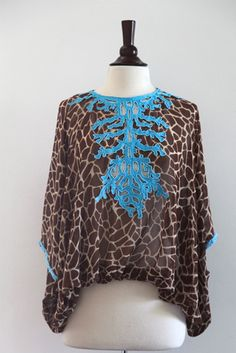 NEW Silk Top with coral embroidery - giraffe