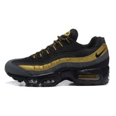 first rate 268bf 7568c Mens Nike Air Max 95 Premium Black Metallic Gold Running shoes 538416-007