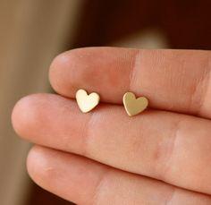 Valentines Day Studs- Tiny Brass Heart Studs with Sterling Silver Posts Minimalist Jewelry Cute Earrings, Heart Earrings, Gemstone Earrings, Simple Earrings, Colar Disney, Accesorios Casual, Gyaru, Cute Jewelry, Heart Jewelry
