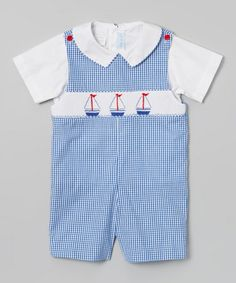 Another great find on #zulily! Blue Gingham Sailboat John Johns - Infant & Toddler #zulilyfinds