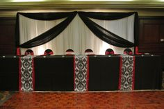 Black Head Table B&W Damask Runners with red border White & Black Backdrop