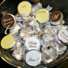 Hershey kiss labels in brown yellow and baby blue- perfect party favor for a boy's baby shower. by APartyStudio on Etsy, only $7.00 & you can print as many as you need.