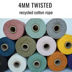 Sleek sellouts! 🤓. Order 4mm twisted cotton rope, recycled cotton macrame rope, macrame string, macrame cord, macrame supplies, cotton string, cotton rope, macrame at $34.00 #DiyPlantHangers #MacrameKits #MacrameBeginner #WeavingYarn #ModernMacrame #macrame #WeavingDiy #DiyWallHanging #MacrameSupplies #fibreshare Cotton String, Cotton Rope, Macrame Supplies, Weaving Yarn, Macrame Cord, Craft Projects, Recycling, Gift Wrapping, Twists