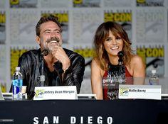 Actor Jeffrey Dean Morgan (L) and actress Halle Berry speak onstage during the CBS TV Studios' panel for 'Extant' during Comic-Con International 2015 at the San Diego Convention Center on July 9, 2015 in San Diego, California.