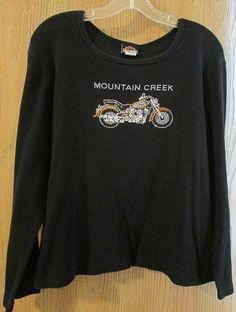 Available in our Ebay store, click photo for details...  Harley-Davidson Women's 2X Black Graphic Long Sleeve Shirt Mountain Creek Dalton #HarleyDavidson #GraphicTeeEmbellished #fashion #shirt #top #black #motorcycle #bikerchick #biker #bling