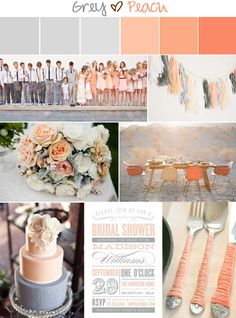 Still love peach and grey. You could add in hues of a pink and reds...like a sunset and tone it down with grey,..like In pic