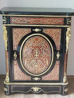 RESTAURIERT! Boulle Halbschrank Schildpatt 1860 Napoleon III Kommode Marmor TOP!