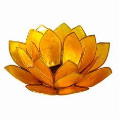 Yellow Capiz Shell Lotus Candle Holder