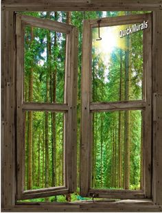 log cabin window murals | Country Cabin Window Peel & Stick (1 piece) Canvas Wall Mural