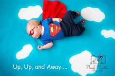 Superhero newborn photo. Just a blue blanket and white printer paper for the clouds. Add adorable sleeping baby and bam flying baby. Nicole Nurthen photography