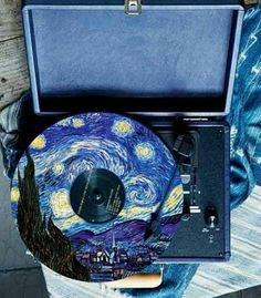 Starry Night Vincent van Gogh inspired - paint and art Arte Van Gogh, Van Gogh Art, Art Hoe Aesthetic, Aesthetic Painting, Aesthetic Drawings, Night Aesthetic, Vinyl Record Art, Vinyl Art, Vinyl Records