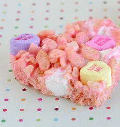 Valentines Day Chunky Marshmallow Heart Rice Krispies Treats