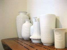Jeanines recent post on milk glass inspired me to check thrift stores for a white vase that would really pop against my dining table. And I found something I liked even more than milk glass...