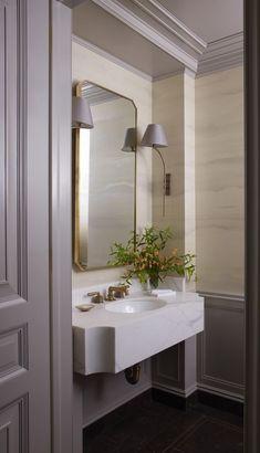 glam and elegant bathroom neutral bathroom, neutral powder room, powder room design with bathroom mirror and tile floor, bathroom vanity and bathroom sconces Beautiful Bathrooms, Modern Bathroom, Small Bathrooms, Neutral Bathroom, Luxury Bathrooms, Nature Bathroom, Small Baths, Italian Bathroom, Navy Bathroom