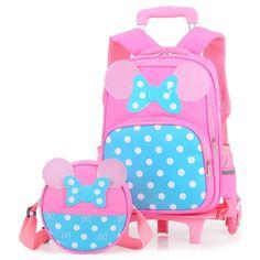 2PCS sets Girls Trolley Rolling Backpack Climb the stairs school bag  children Detachable waterproof backpack travel 4c64deee707c9