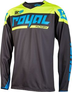 Royal Victory Race Long Sleeve Bike Jersey Charcoal/Yellow/Cyan 2017 | eBay