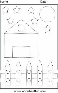 Picture Tracing – Shapes – Circle, Star, Triangle, Square and Rectangle – 1 Worksheet / FREE Printable Worksheets – Worksheetfun Shape Tracing Worksheets, Tracing Shapes, Printable Preschool Worksheets, Free Kindergarten Worksheets, Writing Worksheets, Tracing Lines, Preschool Writing, Preschool Learning, Preschool Shapes