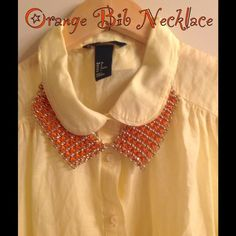 Orange Chain Link Bib Necklace Set Cute orange and gold fashion jewelry bib necklace. Medium weight. Adjustable. Includes double strand chain earrings for pierced ears. New with tags. Jewelry Necklaces