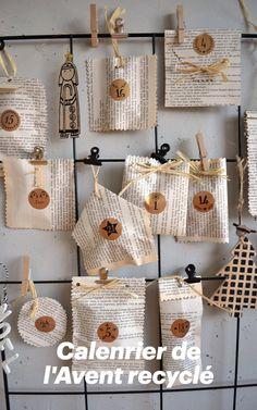 Récupérer, recycler pour fabriquer son calendrer de l'Avent. Retrouver le tuto ici Stickers, Vintage Christmas, Advent Calendar, Sticker, Home Made, Children, Decals