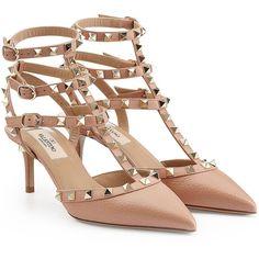 Valentino Rockstud Leather Kitten Heels ($835) ❤ liked on Polyvore featuring shoes, pumps, beige, beige shoes, genuine leather shoes, valentino shoes, kitten heel shoes and leather footwear