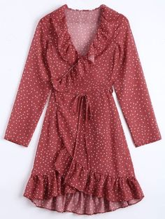 SHARE & Get it FREE | Star Print Ruffle Hem Wrap Dress - Dark Red SFor Fashion Lovers only:80,000+ Items • New Arrivals Daily Join Zaful: Get YOUR $50 NOW!