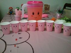 Homemade Kir Birthday Pitcher And Cups Nintendo Party with Kirby Birthday Party Ideas - Party Supplies Ideas Birthday Party Punches, Birthday Party Images, Birthday Cup, 6th Birthday Parties, Birthday Ideas, Nintendo Party, Kids Party Themes, Party Ideas, Video Game Party