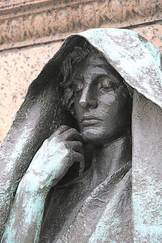 """Saint-Gaudens' magnificent statue for a grieving husband, after his wife comitted suicide.  Just the face of the Adams memorial. Saint-Gaudens evoked Buddhist imagery, and employed both male and female models in creating this abstract portrait of death, which he called """"The Mystery of the Hereafter...beyond pain and beyond joy."""""""
