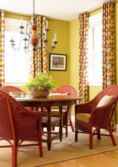 Outdoor wicker and woven rattan chairs spray painted for a great colorful look