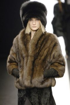 sable fur jacket & black fox fur hat