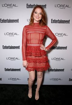 ebd058df427 Sarah Drew wore a rust  SelfPortrait lace panel dress to Variety + Women in  Film s