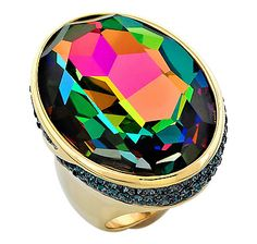 #lovetoshop AKKAD Collection The High Roller Gold Tone Pave Crystal Ring