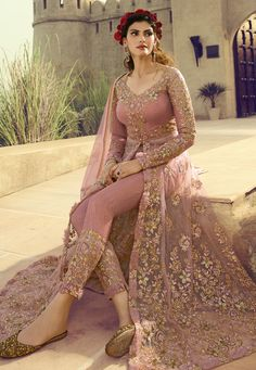 Pink Butterfly Net Lehenga Style Anarkali Suit With embroidered Pants Party Wear Indian Dresses, Pakistani Fashion Party Wear, Designer Party Wear Dresses, Pakistani Dresses Casual, Indian Gowns Dresses, Pakistani Bridal Dresses, Kurti Designs Party Wear, Indian Fashion Dresses, Dress Indian Style