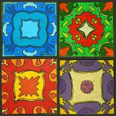 beautiful 5th grade oil pastel mandalas (teach radial symmetry) from funart4kids blog