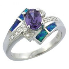 Sterling Silver Synthetic Opal Inlay Ring Oval Shape Amethyst CZ Center