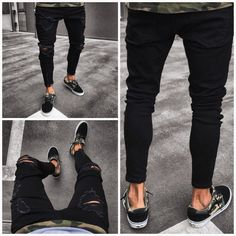 Black Jeans Skinny Ripped  #ootd #menfashionreview #mensfashion #fashionworld #fusion8lux #instafashion Black Ripped Jeans, Jeans Skinny, Slim Fit Chinos, Slim Fit Pants, Elastic Jeans, Men's Fashion, Ootd, Slim Man, Harem Pants