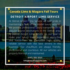 Detroit Airport Limo Service and Airport Transportation to/from Toronto Airport, Buffalo Airport, Niagara Airport and Hamilton Airport. Detroit Airport, Toronto Airport, Buffalo Airport, Airport Limo Service, Airport Transportation, Detroit Area, Niagara Falls, Windsor