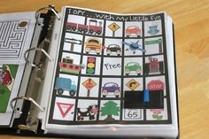 Gluesticks ~ Road Trip Binder for Kids!  Fabulous roadtrip binders full of fun activities to give kids something to do in the car.