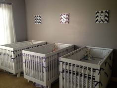Simple, sweet nursery for triplets. Love the choice of the modern @babyletto Hudson crib.