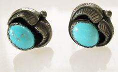 VTG CIRCLE JW Sterling Silver & Turquoise Blossom Earrings Indian Southwestern #circlejw