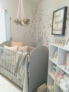 Nursery Furniture And Interiors Girly Gray Nursery featuring a Flower Wreath Mobile - so glam and so on-trend! (Mobile Pour Bebe) Nursery Furniture And Interiors Source : Girly Gray Nursery featuring a Flower Wreath Baby Bedroom, Baby Room Decor, Nursery Room, Kids Bedroom, Baby Rooms, Room Baby, Calming Nursery, Nursery Themes, Baby Nursery Grey
