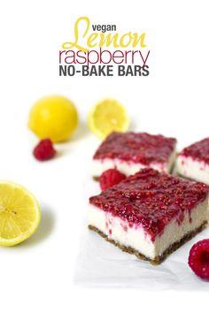 Vegan Lemon Raspberry No Bake Bars | Wifemamafoodie