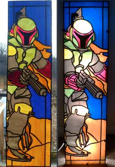 Nothing Says Classy Decor Like Boba Fett Stained Glass Panels