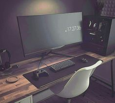 Love the wooden desk and matt black PC peripherals. Looks very clean and mature. Chair looks horribly uncomfortable.