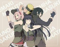 Naruto, Hinata, Sakura, and Sasuke.