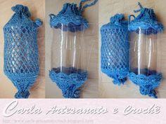 Carla Artesanato: Porta-papel e puxa -saco com crochet e pet