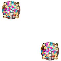 Kate Spade Multi Glitter 3 Piece Stud Set ($88) ❤ liked on Polyvore featuring jewelry, earrings, tri color jewelry, multicolor earrings, glitter stud earrings, stone jewelry and stud earrings