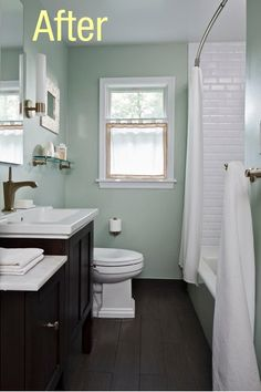 Small Bathroom Remodel Pictures Before And After - Bathroom Ideas Bathroom Renos, Bathroom Renovations, Bathroom Ideas, Bathroom Mirrors, Bathroom Green, Bathroom Faucets, Bathroom Storage, Bathroom With Wood Floor, Seafoam Bathroom